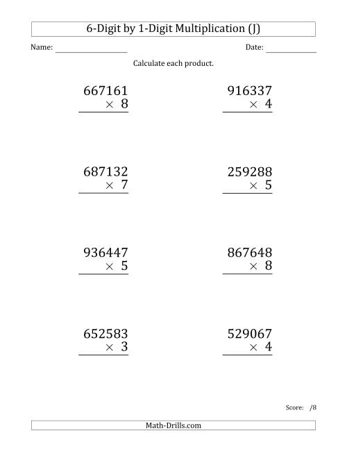 The Multiplying 6-Digit by 1-Digit Numbers (Large Print) (J) Math Worksheet
