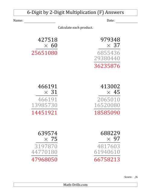 The Multiplying 6-Digit by 2-Digit Numbers (Large Print) (F) Math Worksheet Page 2