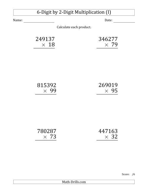 The Multiplying 6-Digit by 2-Digit Numbers (Large Print) (I) Math Worksheet