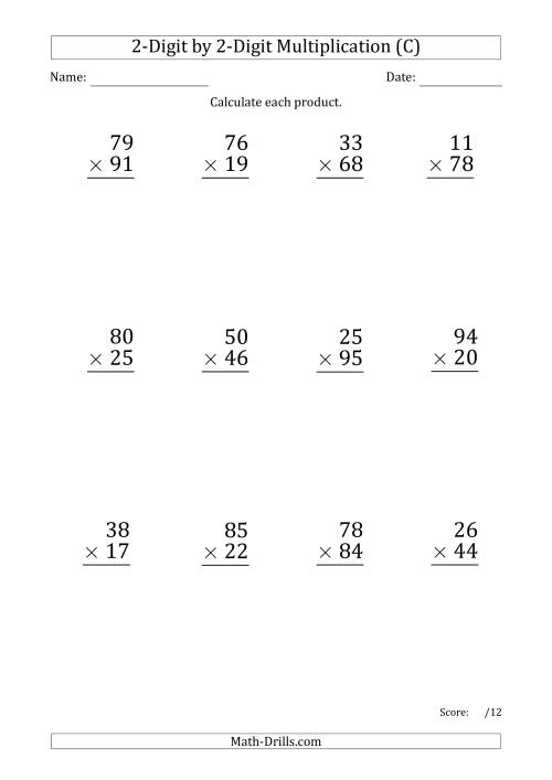 The Multiplying 2-Digit by 2-Digit Numbers (Large Print) with Period-Separated Thousands (C) Math Worksheet