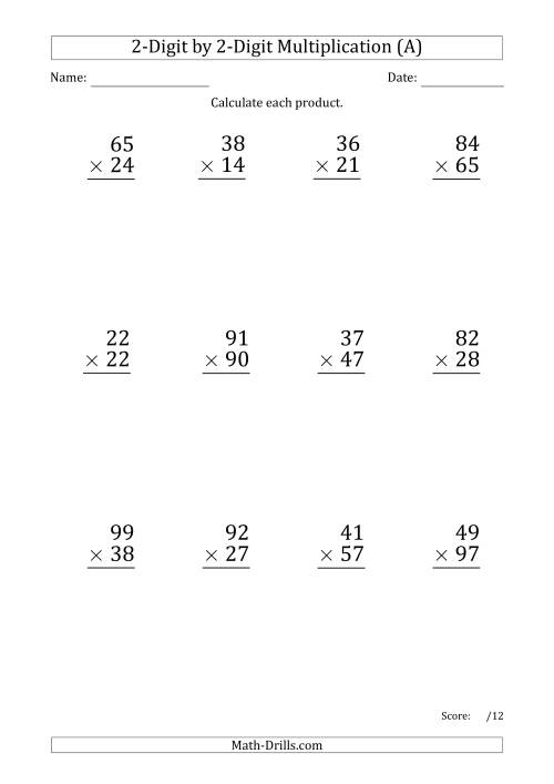 The Multiplying 2-Digit by 2-Digit Numbers (Large Print) with Period-Separated Thousands (All) Math Worksheet