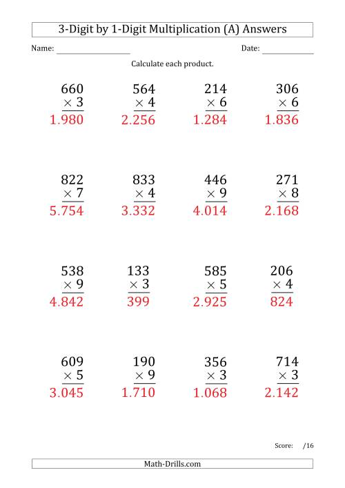 The Multiplying 3-Digit by 1-Digit Numbers (Large Print) with Period-Separated Thousands (A) Math Worksheet Page 2