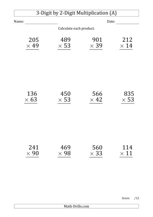 The Multiplying 3-Digit by 2-Digit Numbers (Large Print) with Period-Separated Thousands (A) Math Worksheet