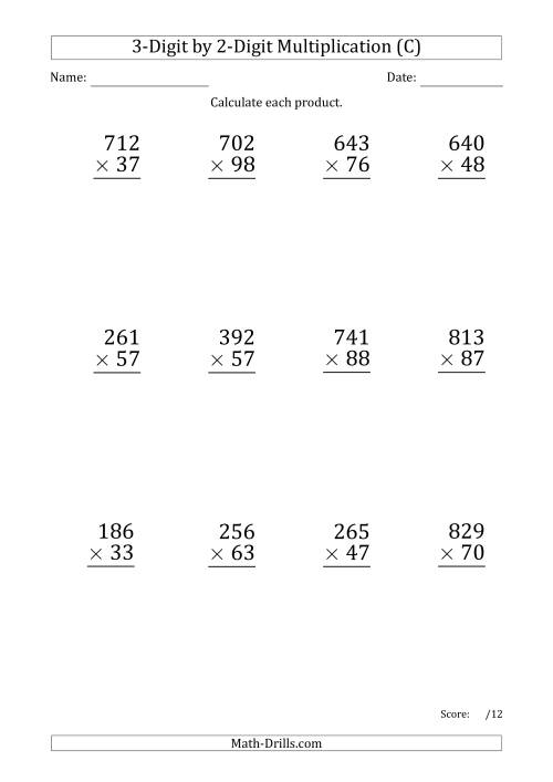 The Multiplying 3-Digit by 2-Digit Numbers (Large Print) with Period-Separated Thousands (C) Math Worksheet