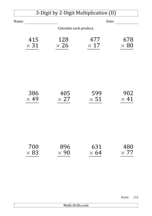 The Multiplying 3-Digit by 2-Digit Numbers (Large Print) with Period-Separated Thousands (D) Math Worksheet
