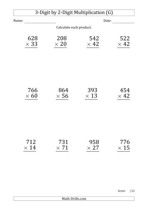 The Multiplying 3-Digit by 2-Digit Numbers (Large Print) with Period-Separated Thousands (G) Math Worksheet