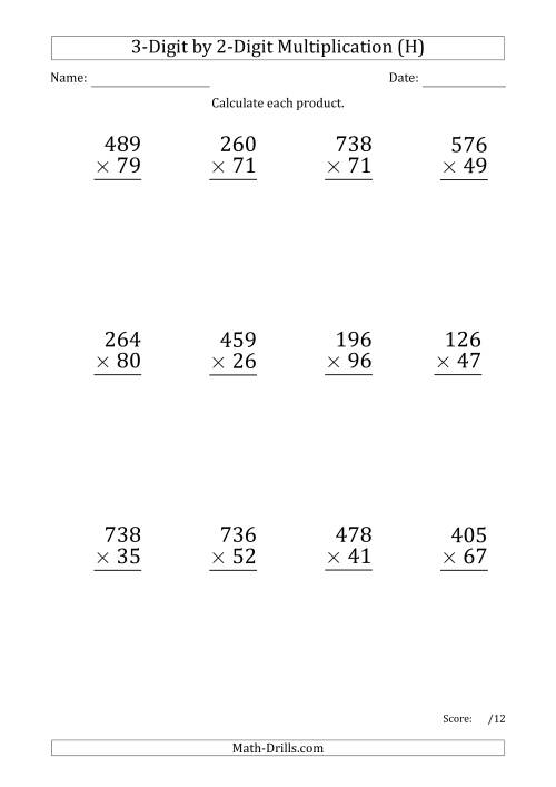 The Multiplying 3-Digit by 2-Digit Numbers (Large Print) with Period-Separated Thousands (H) Math Worksheet