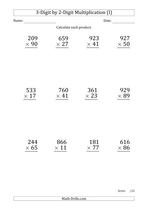 The Multiplying 3-Digit by 2-Digit Numbers (Large Print) with Period-Separated Thousands (I) Math Worksheet