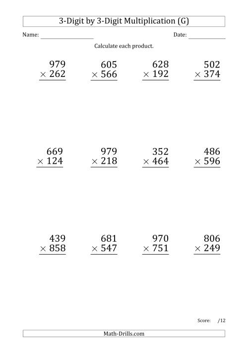 The Multiplying 3-Digit by 3-Digit Numbers (Large Print) with Period-Separated Thousands (G) Math Worksheet