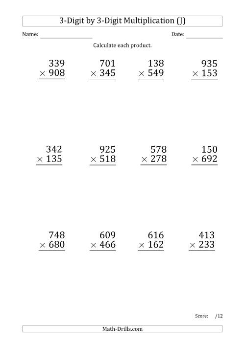 The Multiplying 3-Digit by 3-Digit Numbers (Large Print) with Period-Separated Thousands (J) Math Worksheet