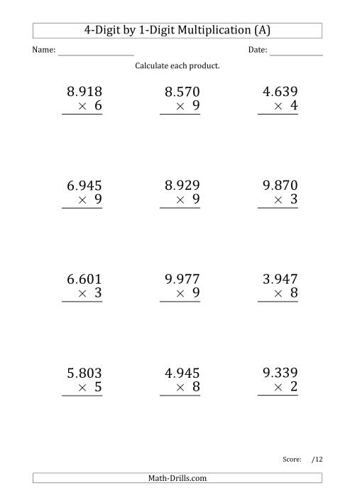 The Multiplying 4-Digit by 1-Digit Numbers (Large Print) with Period-Separated Thousands (All) Math Worksheet