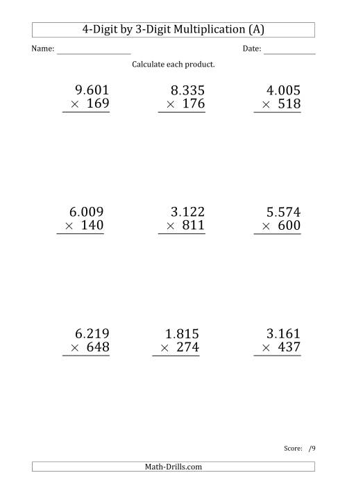 The Multiplying 4-Digit by 3-Digit Numbers (Large Print) with Period-Separated Thousands (A) Math Worksheet