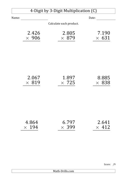 The Multiplying 4-Digit by 3-Digit Numbers (Large Print) with Period-Separated Thousands (C) Math Worksheet