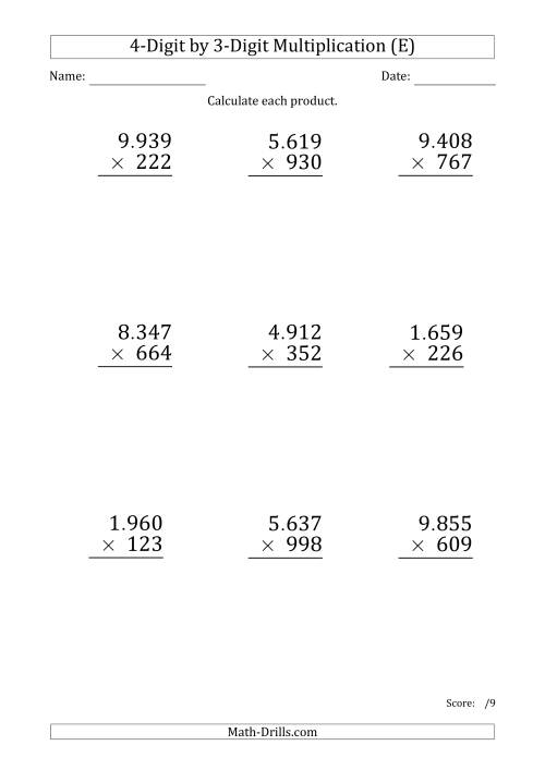 The Multiplying 4-Digit by 3-Digit Numbers (Large Print) with Period-Separated Thousands (E) Math Worksheet