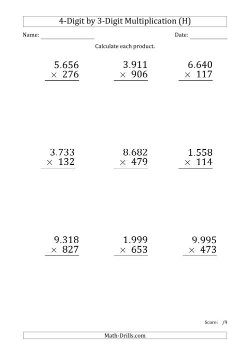 The Multiplying 4-Digit by 3-Digit Numbers (Large Print) with Period-Separated Thousands (H) Math Worksheet
