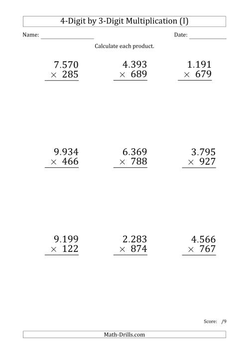 The Multiplying 4-Digit by 3-Digit Numbers (Large Print) with Period-Separated Thousands (I) Math Worksheet