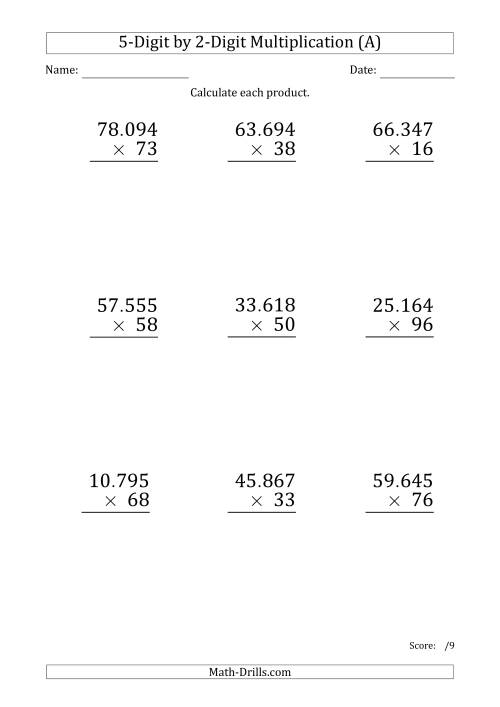 The Multiplying 5-Digit by 2-Digit Numbers (Large Print) with Period-Separated Thousands (A) Math Worksheet