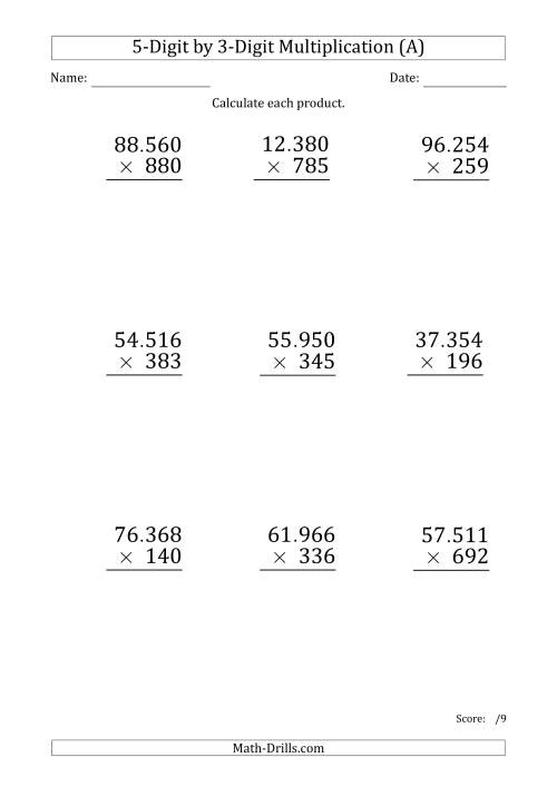 The Multiplying 5-Digit by 3-Digit Numbers (Large Print) with Period-Separated Thousands (A) Math Worksheet