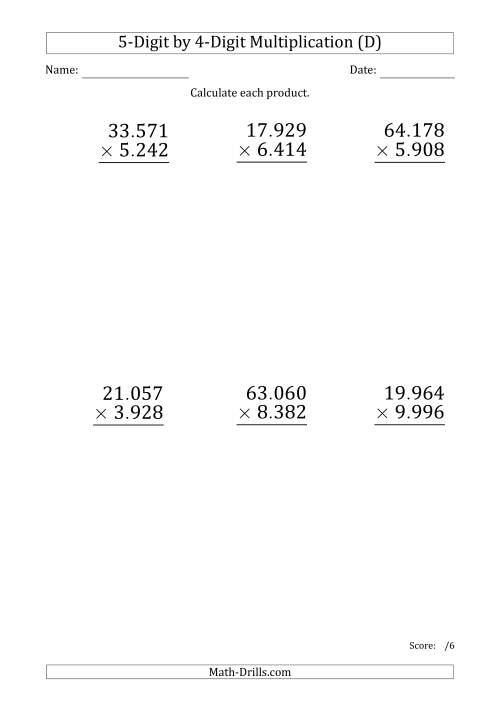 The Multiplying 5-Digit by 4-Digit Numbers (Large Print) with Period-Separated Thousands (D) Math Worksheet