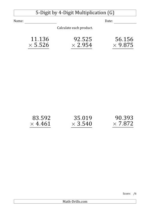The Multiplying 5-Digit by 4-Digit Numbers (Large Print) with Period-Separated Thousands (G) Math Worksheet