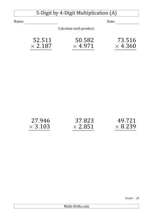 The Multiplying 5-Digit by 4-Digit Numbers (Large Print) with Period-Separated Thousands (All) Math Worksheet