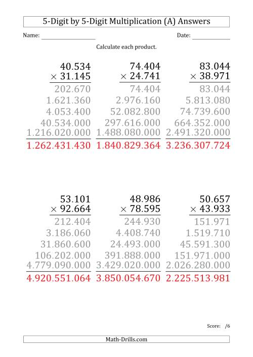 The Multiplying 5-Digit by 5-Digit Numbers (Large Print) with Period-Separated Thousands (All) Math Worksheet Page 2