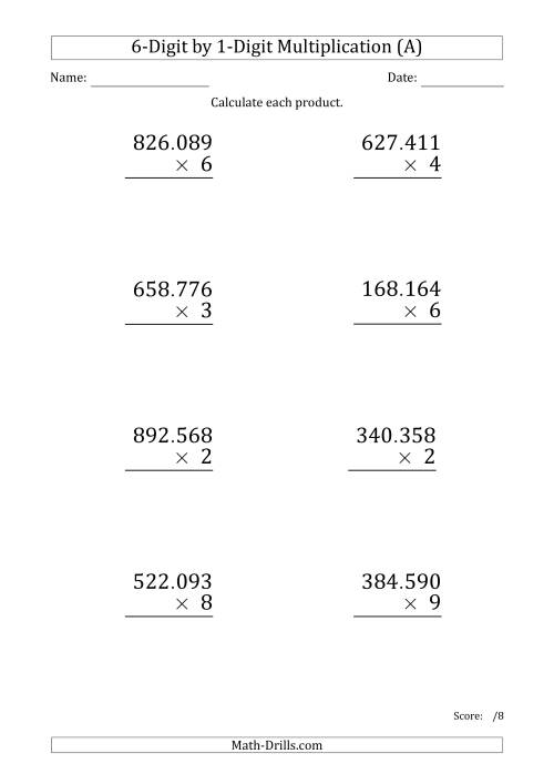 The Multiplying 6-Digit by 1-Digit Numbers (Large Print) with Period-Separated Thousands (A) Math Worksheet