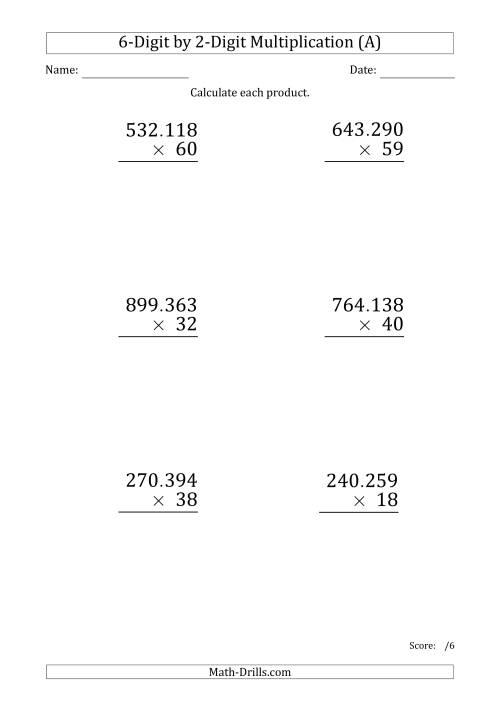 The Multiplying 6-Digit by 2-Digit Numbers (Large Print) with Period-Separated Thousands (A) Math Worksheet