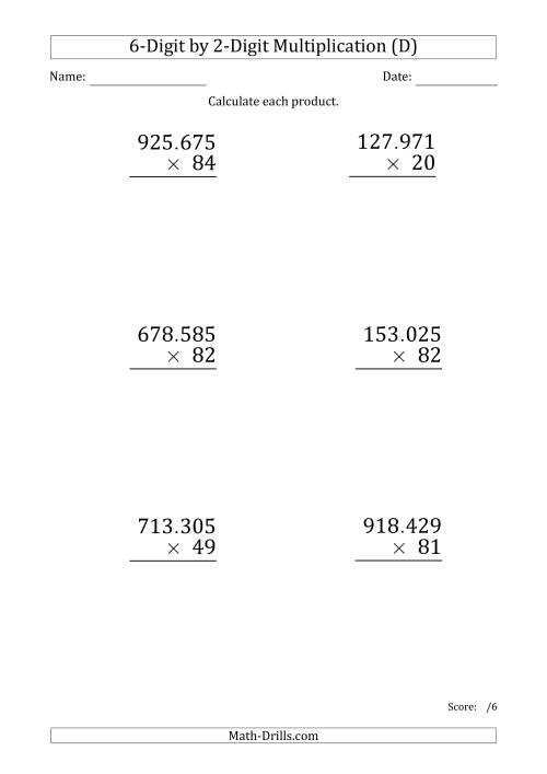 The Multiplying 6-Digit by 2-Digit Numbers (Large Print) with Period-Separated Thousands (D) Math Worksheet