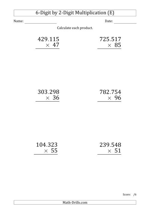 The Multiplying 6-Digit by 2-Digit Numbers (Large Print) with Period-Separated Thousands (E) Math Worksheet