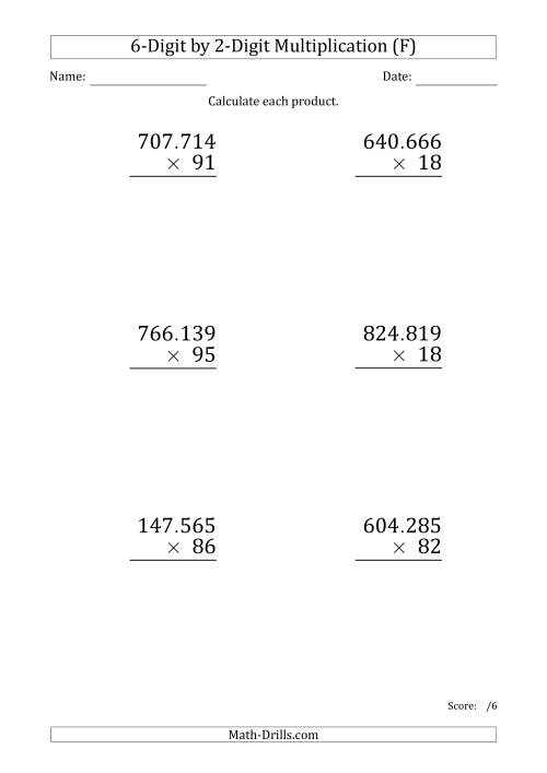 The Multiplying 6-Digit by 2-Digit Numbers (Large Print) with Period-Separated Thousands (F) Math Worksheet