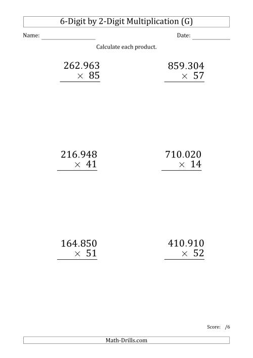 The Multiplying 6-Digit by 2-Digit Numbers (Large Print) with Period-Separated Thousands (G) Math Worksheet
