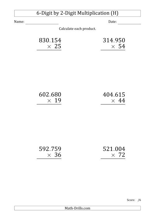 The Multiplying 6-Digit by 2-Digit Numbers (Large Print) with Period-Separated Thousands (H) Math Worksheet