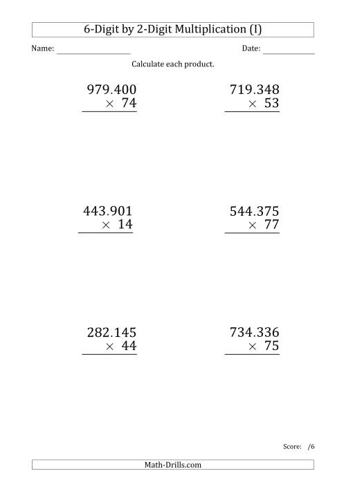 The Multiplying 6-Digit by 2-Digit Numbers (Large Print) with Period-Separated Thousands (I) Math Worksheet