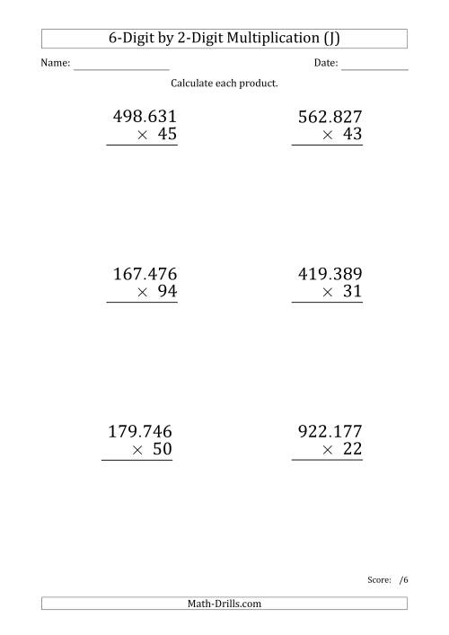The Multiplying 6-Digit by 2-Digit Numbers (Large Print) with Period-Separated Thousands (J) Math Worksheet