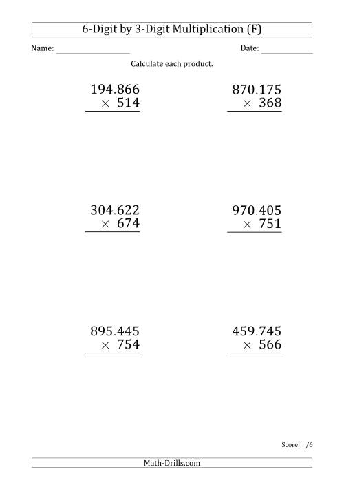 The Multiplying 6-Digit by 3-Digit Numbers (Large Print) with Period-Separated Thousands (F) Math Worksheet