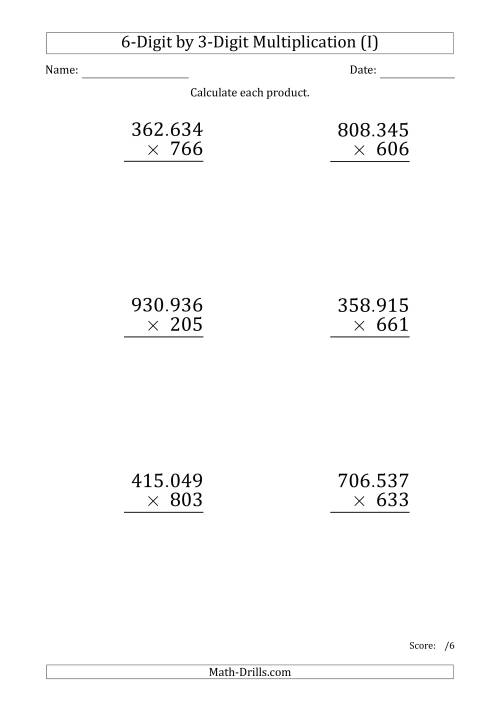 The Multiplying 6-Digit by 3-Digit Numbers (Large Print) with Period-Separated Thousands (I) Math Worksheet