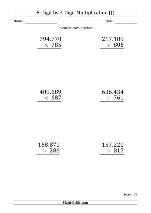 The Multiplying 6-Digit by 3-Digit Numbers (Large Print) with Period-Separated Thousands (J) Math Worksheet