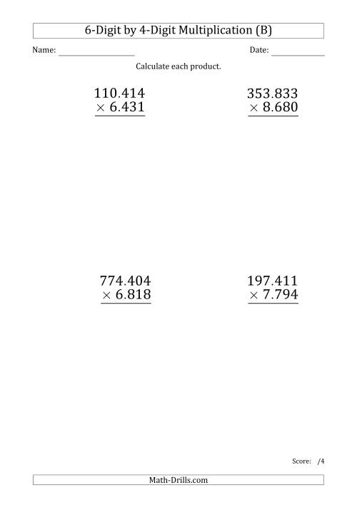 The Multiplying 6-Digit by 4-Digit Numbers (Large Print) with Period-Separated Thousands (B) Math Worksheet