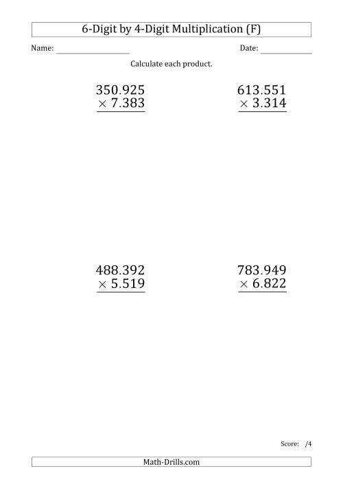 The Multiplying 6-Digit by 4-Digit Numbers (Large Print) with Period-Separated Thousands (F) Math Worksheet