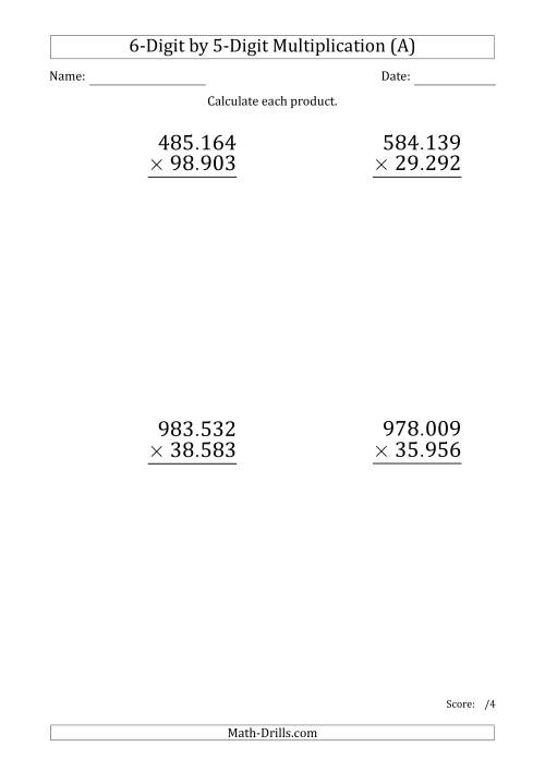 The Multiplying 6-Digit by 5-Digit Numbers (Large Print) with Period-Separated Thousands (A) Math Worksheet