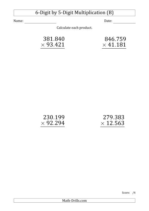 The Multiplying 6-Digit by 5-Digit Numbers (Large Print) with Period-Separated Thousands (B) Math Worksheet