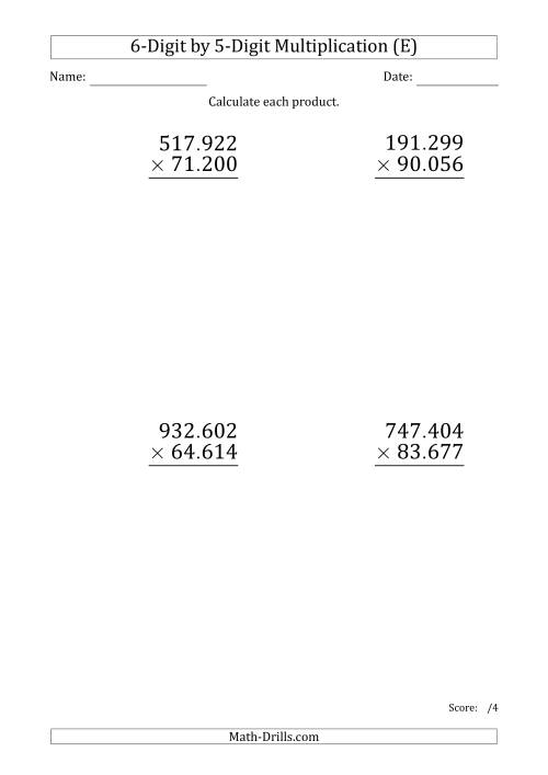 The Multiplying 6-Digit by 5-Digit Numbers (Large Print) with Period-Separated Thousands (E) Math Worksheet