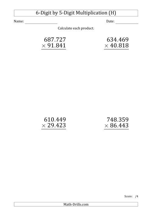 The Multiplying 6-Digit by 5-Digit Numbers (Large Print) with Period-Separated Thousands (H) Math Worksheet