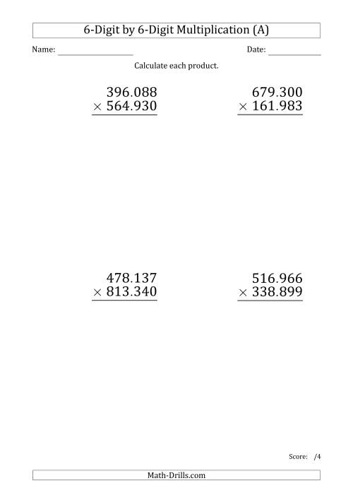 The Multiplying 6-Digit by 6-Digit Numbers (Large Print) with Period-Separated Thousands (A) Math Worksheet