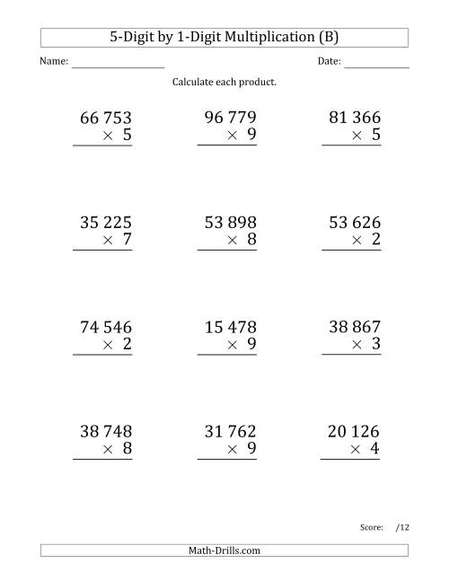 The Multiplying 5-Digit by 1-Digit Numbers (Large Print) with Space-Separated Thousands (B) Math Worksheet