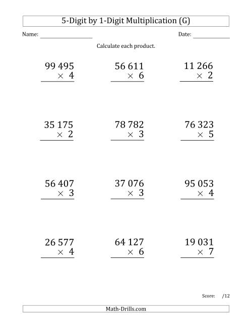 The Multiplying 5-Digit by 1-Digit Numbers (Large Print) with Space-Separated Thousands (G) Math Worksheet