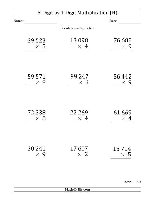 The Multiplying 5-Digit by 1-Digit Numbers (Large Print) with Space-Separated Thousands (H) Math Worksheet