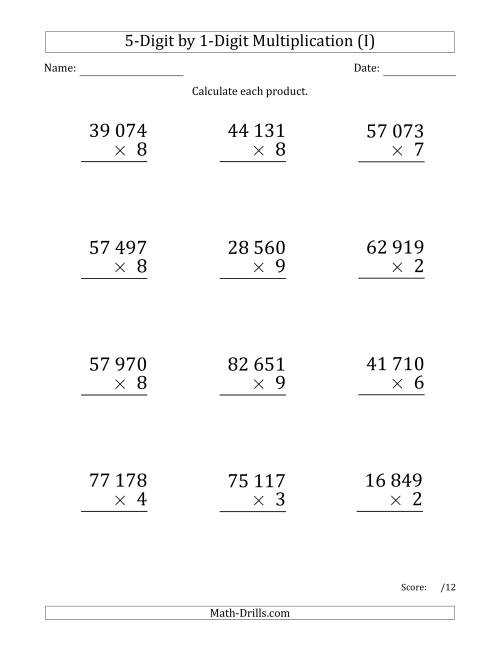 The Multiplying 5-Digit by 1-Digit Numbers (Large Print) with Space-Separated Thousands (I) Math Worksheet