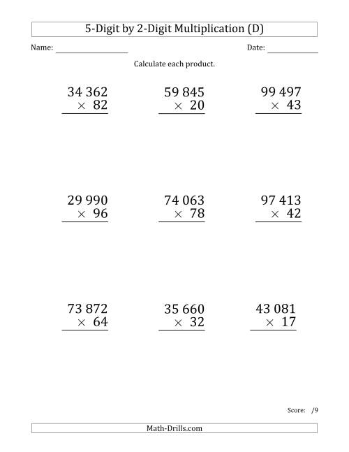 The Multiplying 5-Digit by 2-Digit Numbers (Large Print) with Space-Separated Thousands (D) Math Worksheet